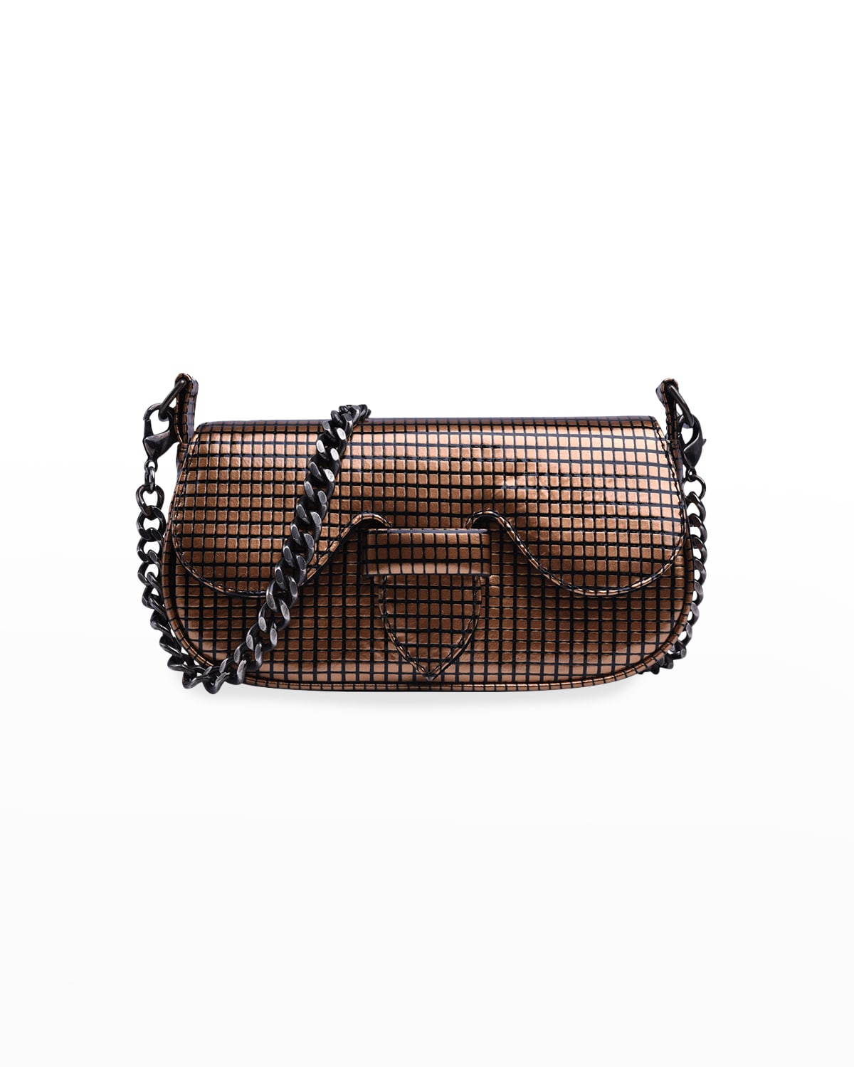 Alicia Grid Patent Leather Clutch Bag