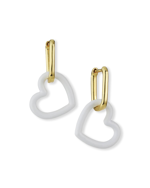 Ruth Snap Hoop Heart Charm Earrings
