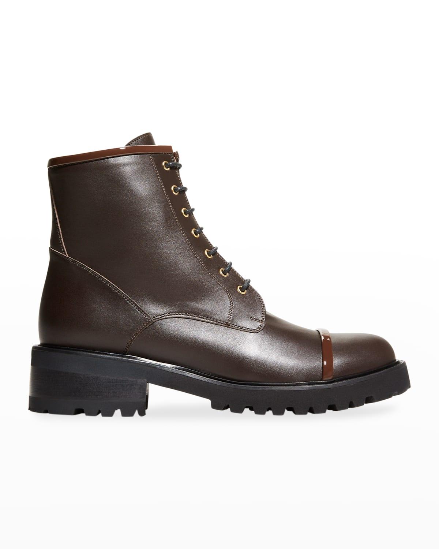 Calfskin Leather Combat Booties