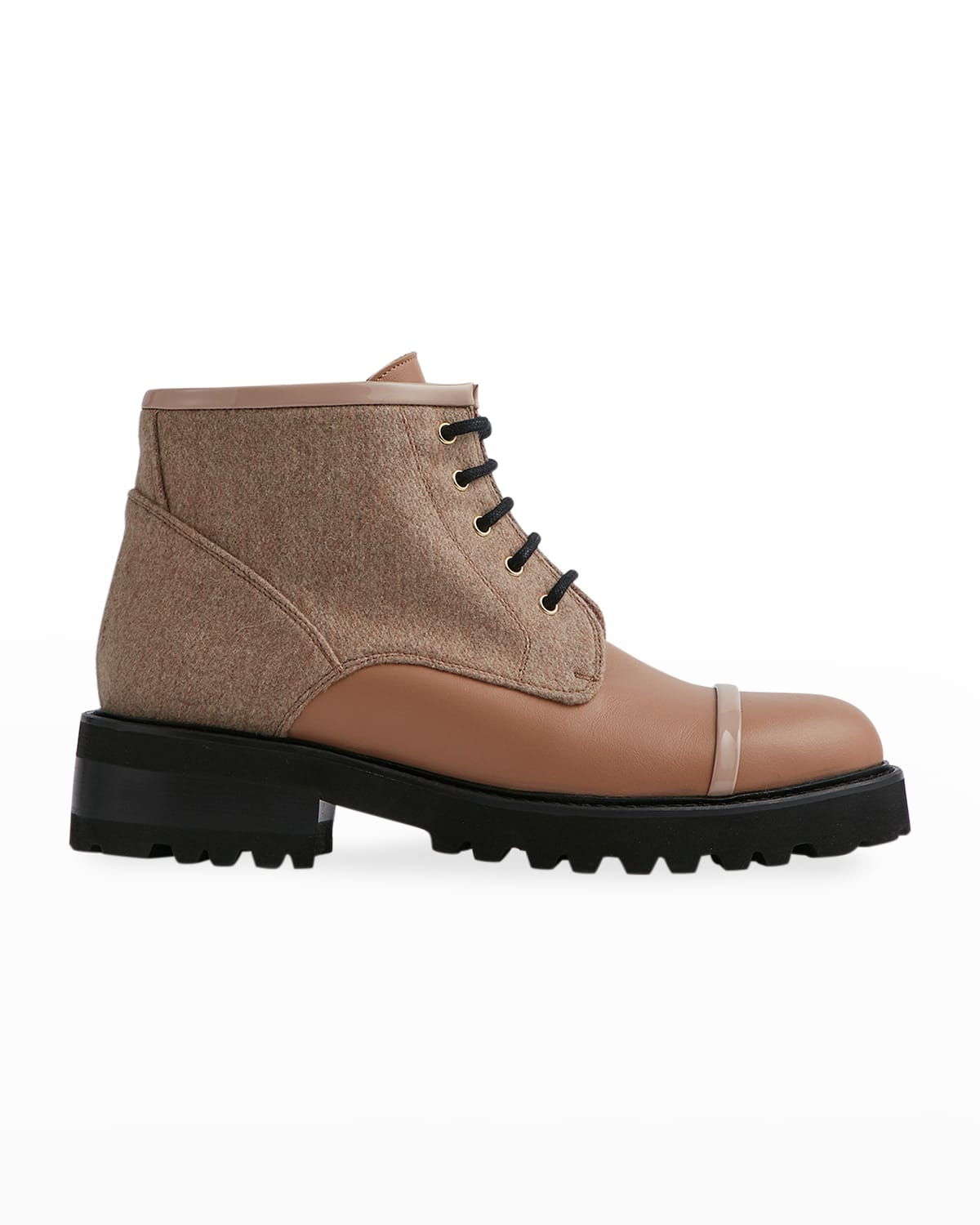 Wool Lace-Up Combat Booties