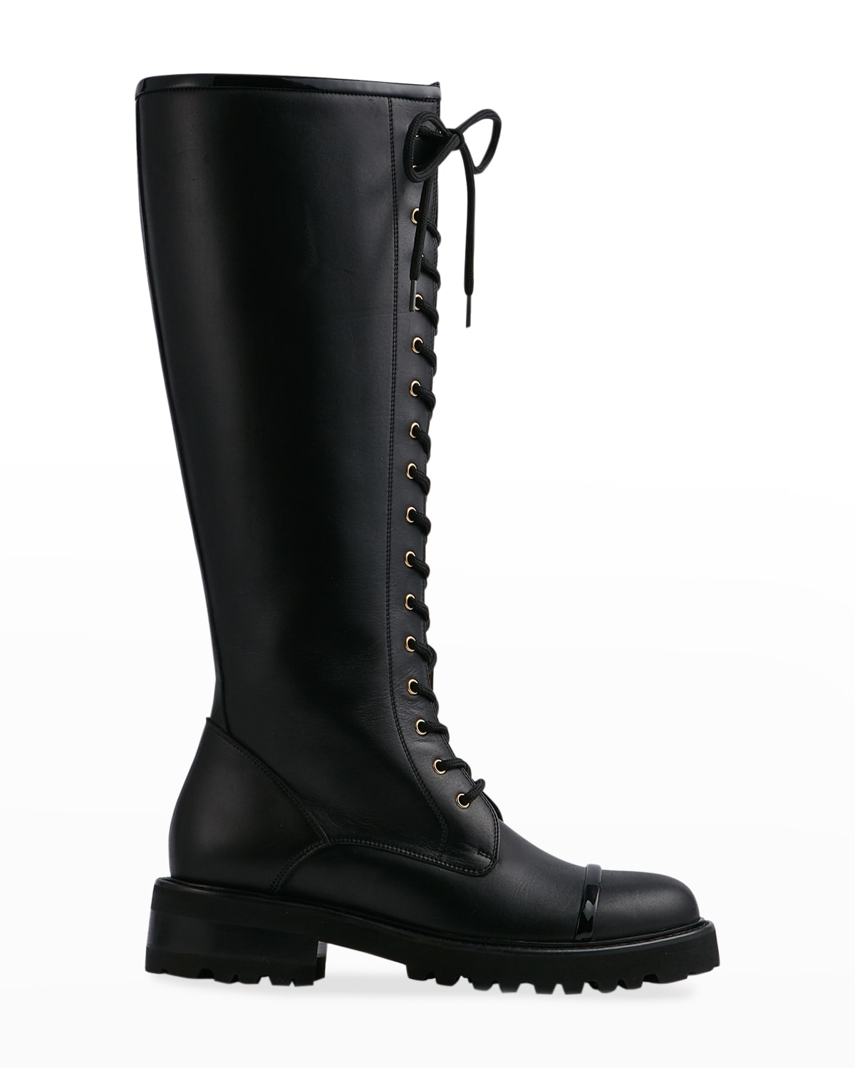 Leather Lace-Up Knee Combat Boots