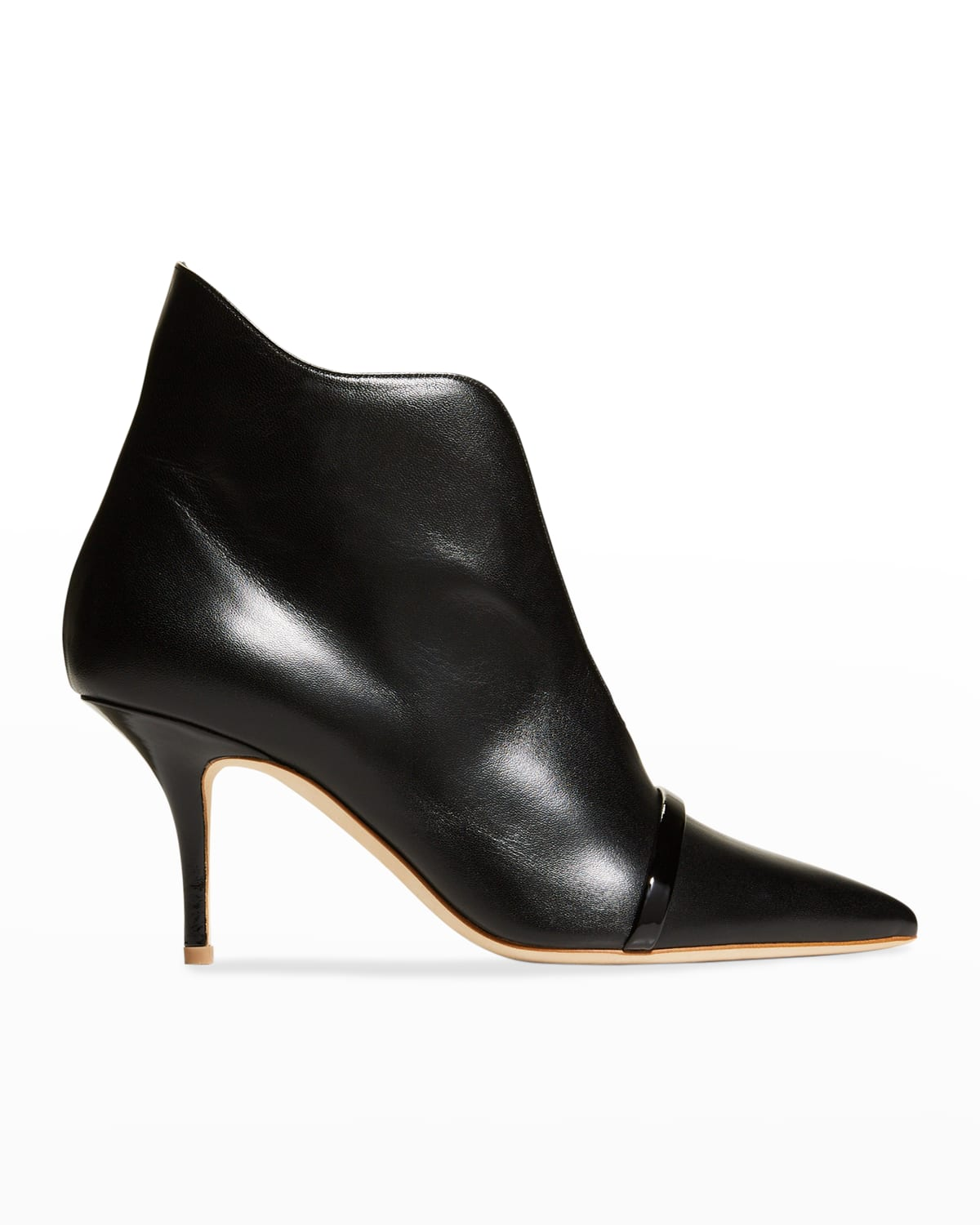 Open-Front Leather Stiletto Booties