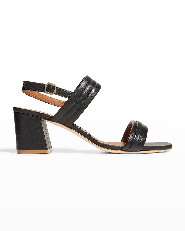 Quilted Napa Block-Heel Sandals
