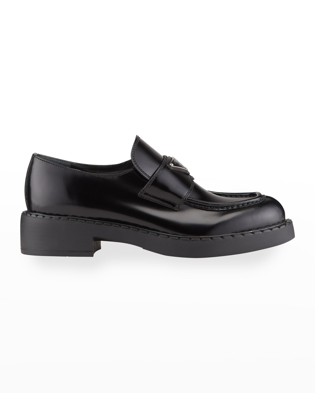 Leather Triangle Logo Loafers