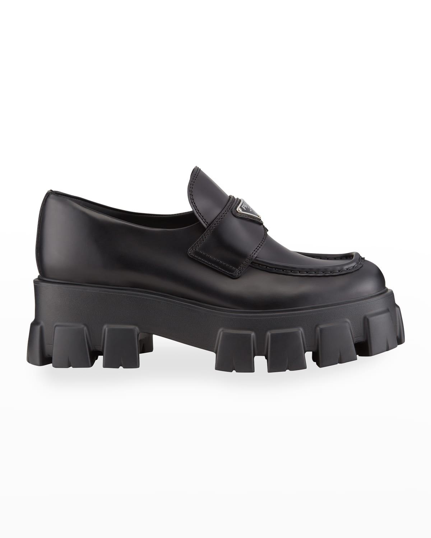 Leather Logo Platform Loafers
