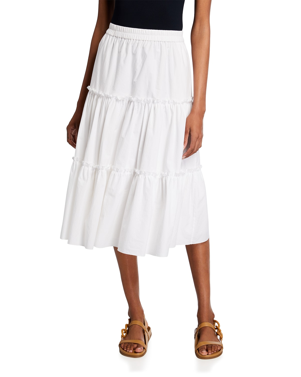 Ruched Tiered Midi Skirt