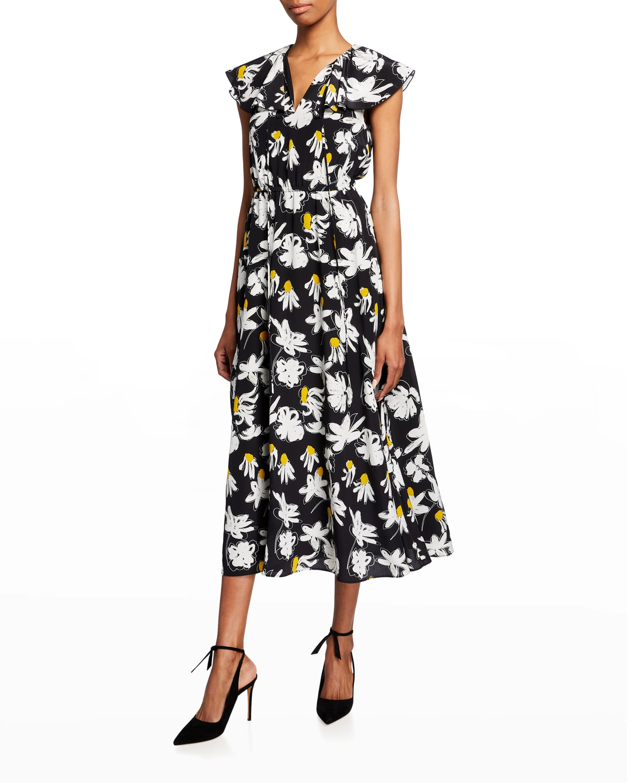 Ruffle V-Neck Printed Silk Dress