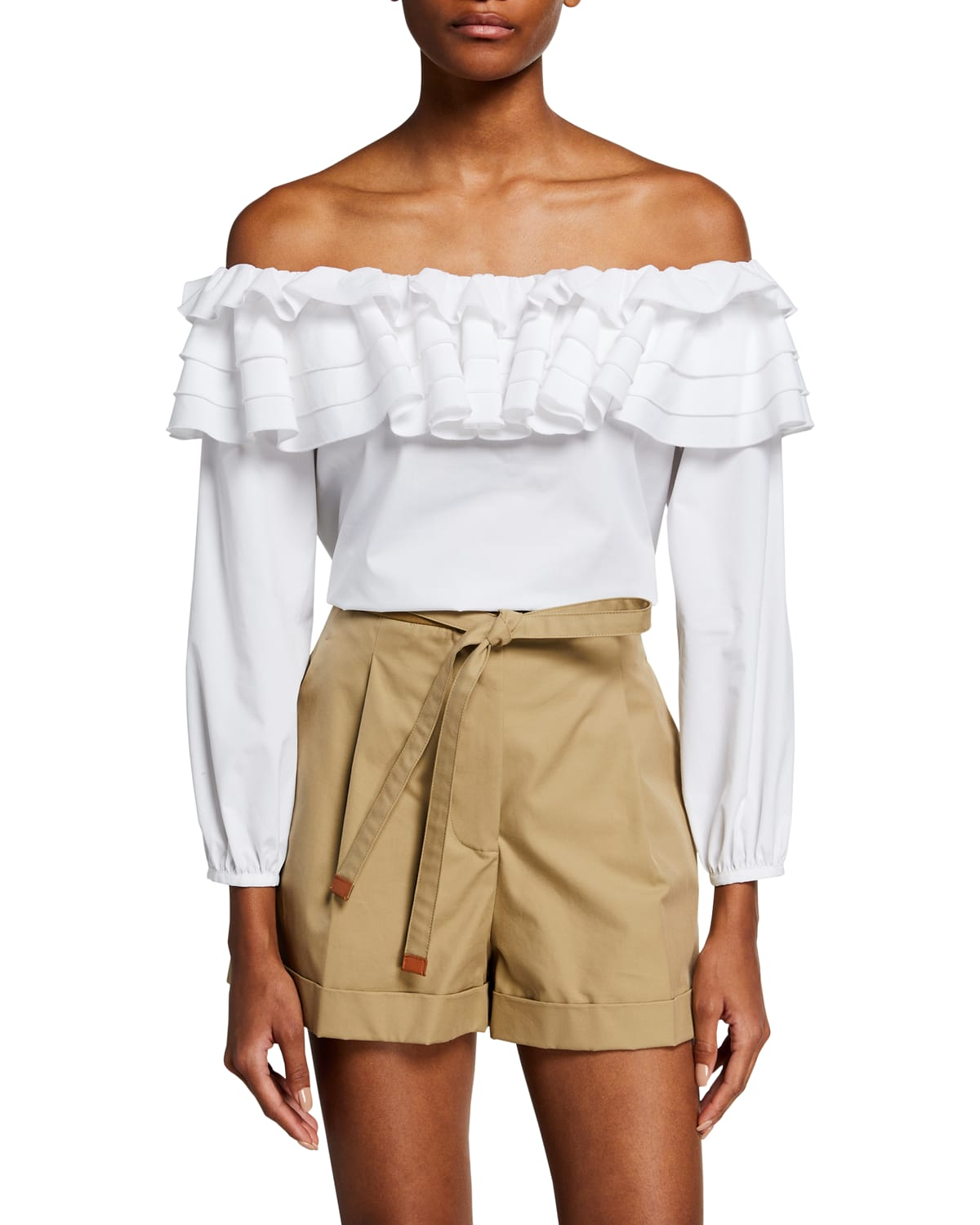 Ruffled Off-the-Shoulder Long-Sleeve Top