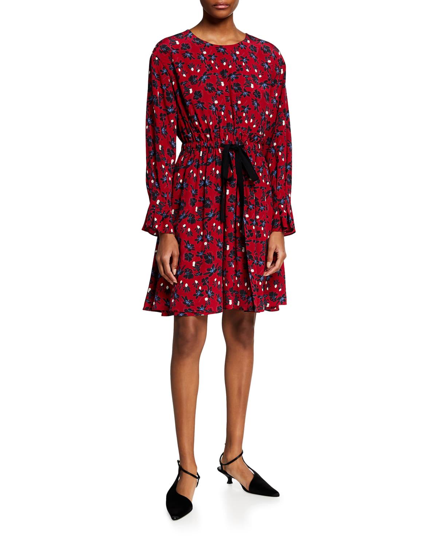 Floral-Print Silk Dress w/ Self-Tie