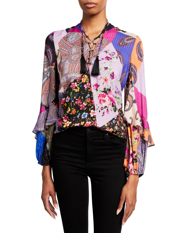Wendi Mixed-Print Ruffle-Sleeve Blouse