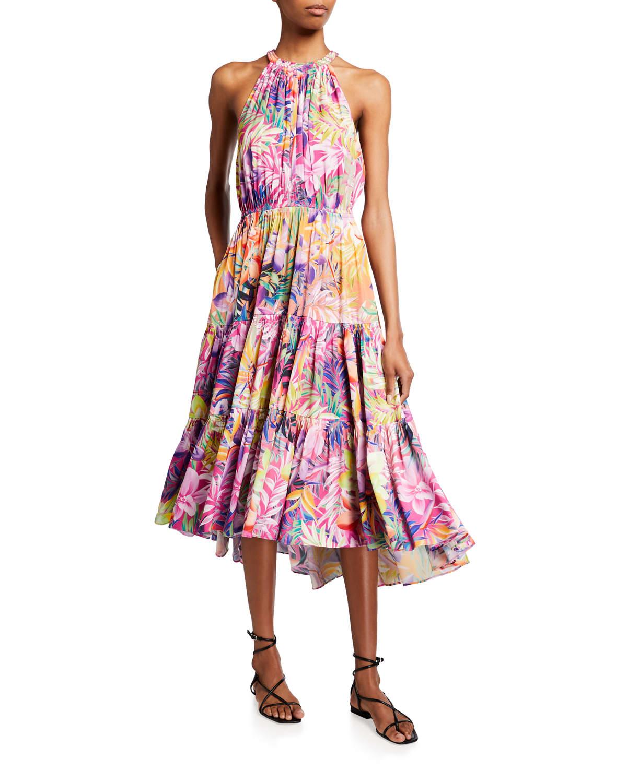 Hope Floral-Print Tiered Halter Dress
