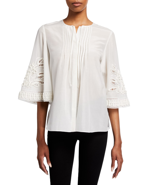 Addie Pintuck Cotton-Silk Blouse