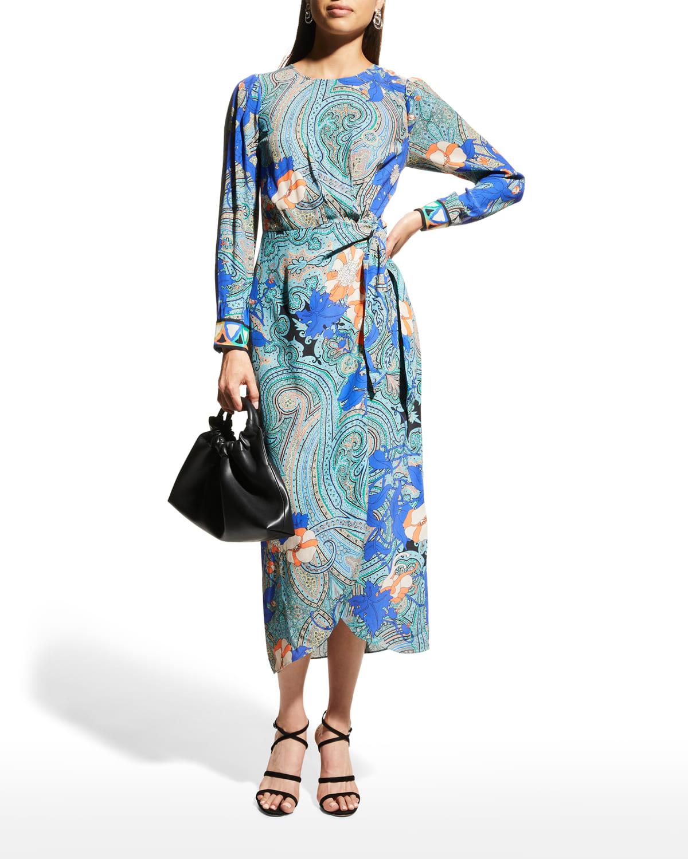 Faye Paisley Floral Long-Sleeve Dress