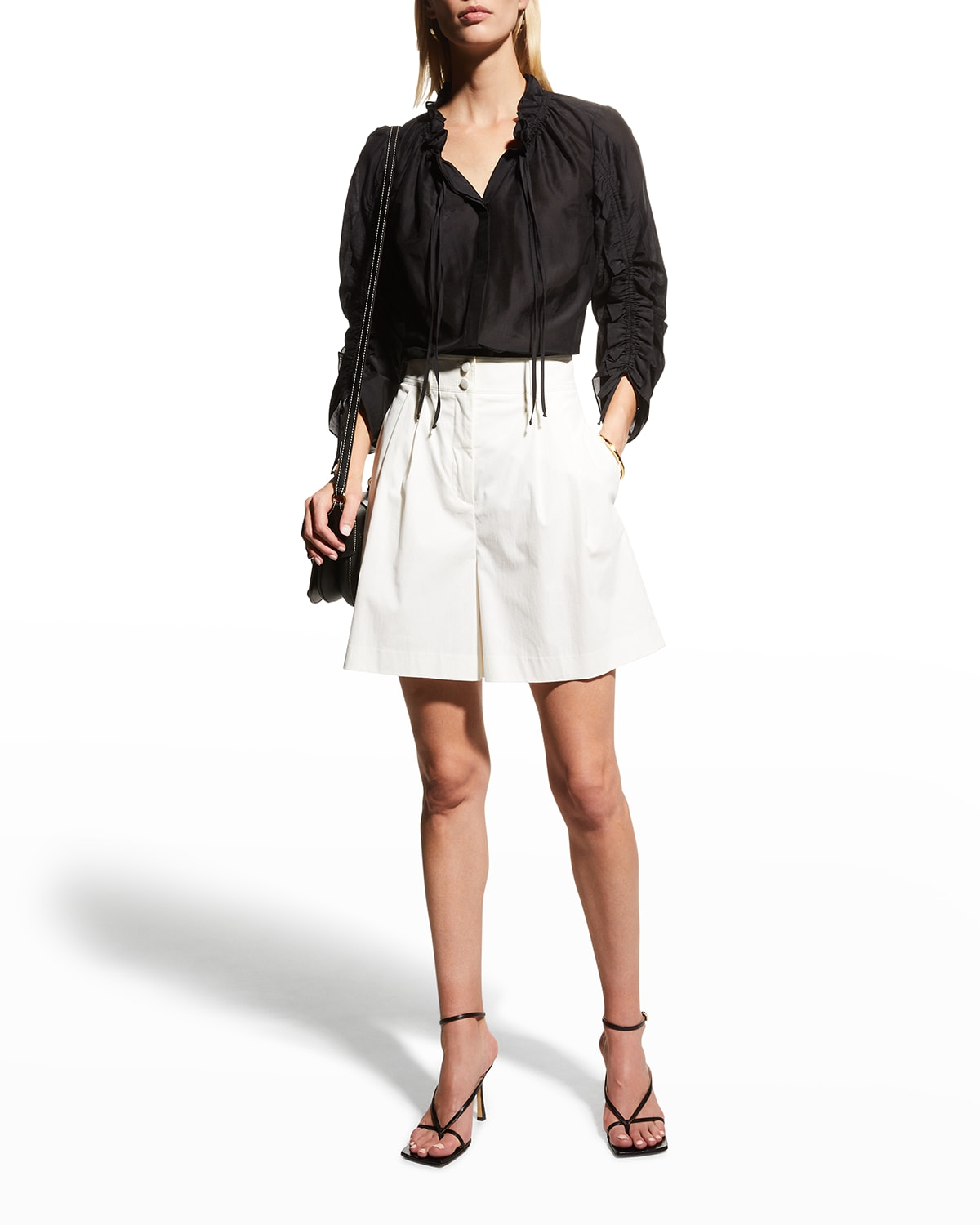 Khloe Button-Down Cinched Blouse