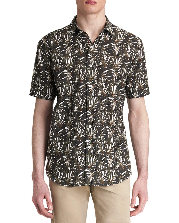 Men's Leaf-Print Linen-Blend Sport Shirt