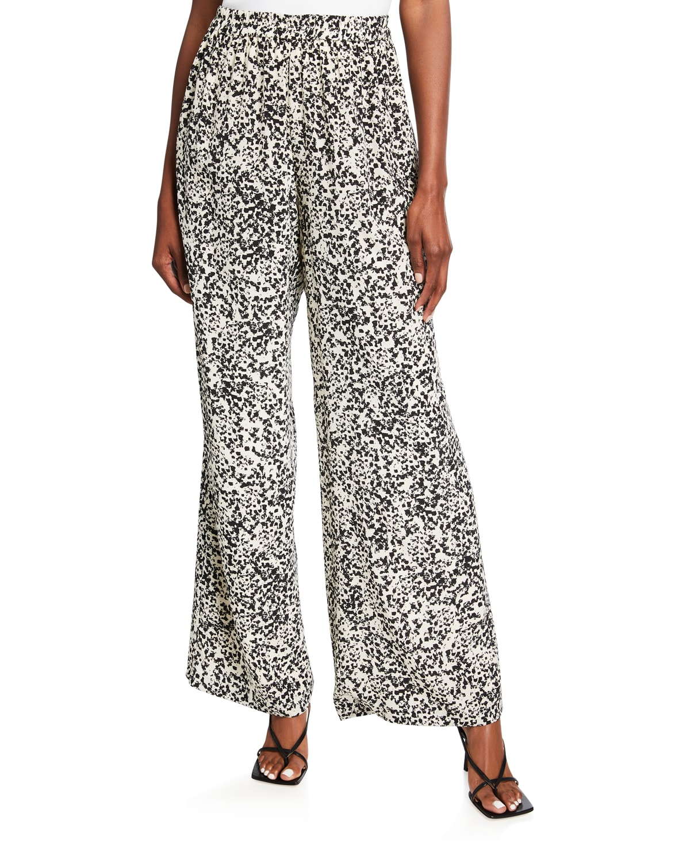 Elena Abstract Silk Pants