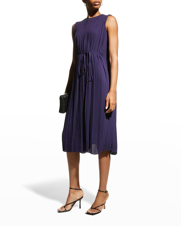 Analisa Long-Sleeve Pleated Dress