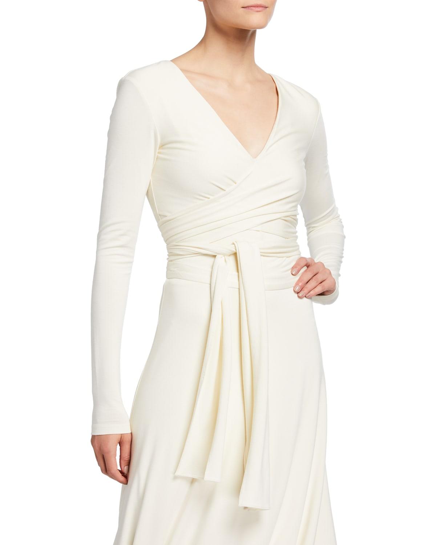 Sarah Long-Sleeve Jersey Wrap Top