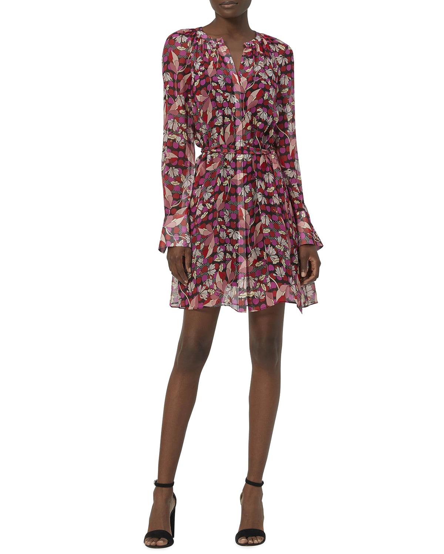 Jean-Yves Long-Sleeve Silk Dress