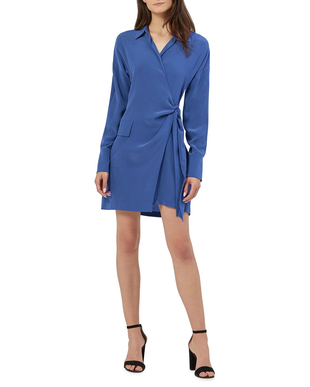 Aaleah Long-Sleeve Silk Wrap Dress