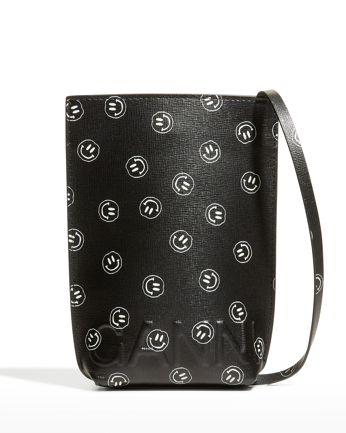 Smiley Face Recycled Leather Pouch Crossbody Bag
