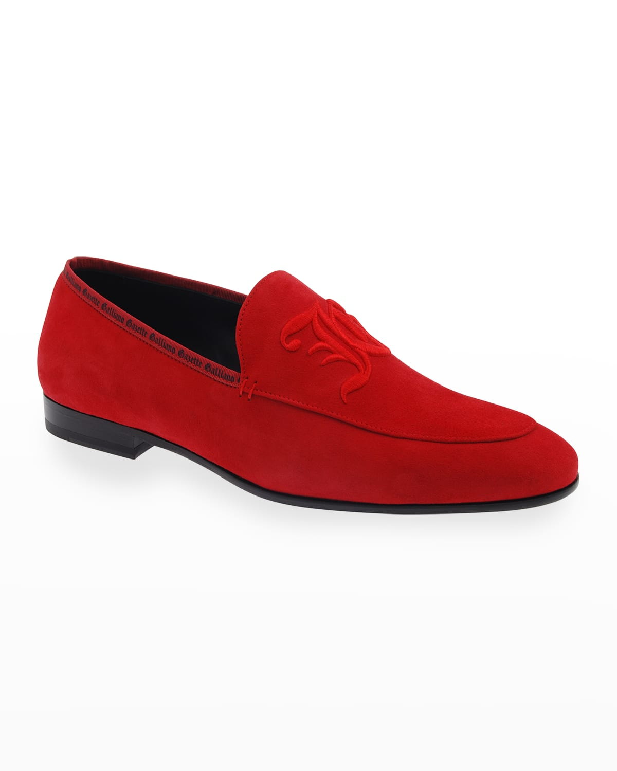 Men's Embroidered Logo Suede Loafers
