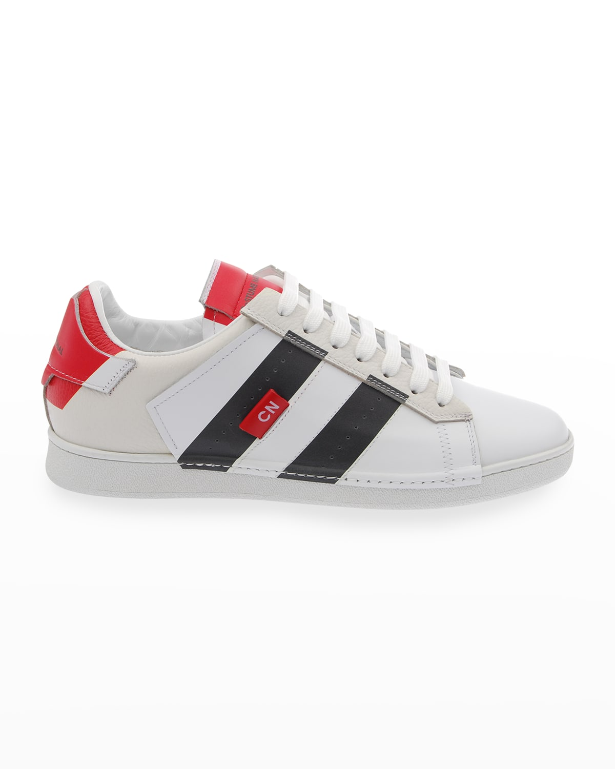 Men's Striped Leather Low-Top Sneakers