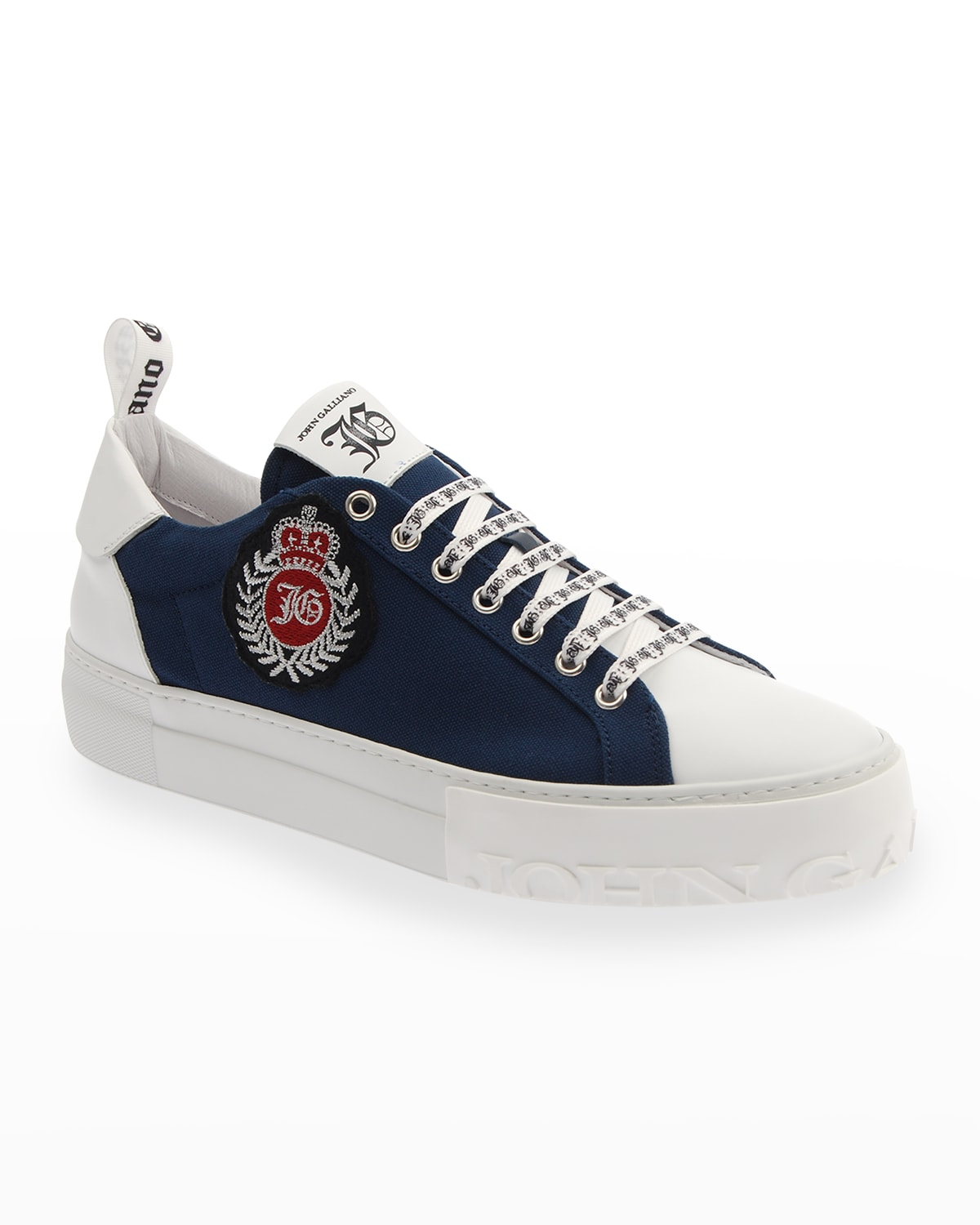 Logo Mix-Leather Low-Top Sneakers