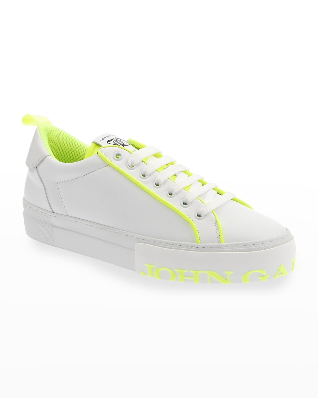 Men's Neon Logo Leather Low-Top Sneakers