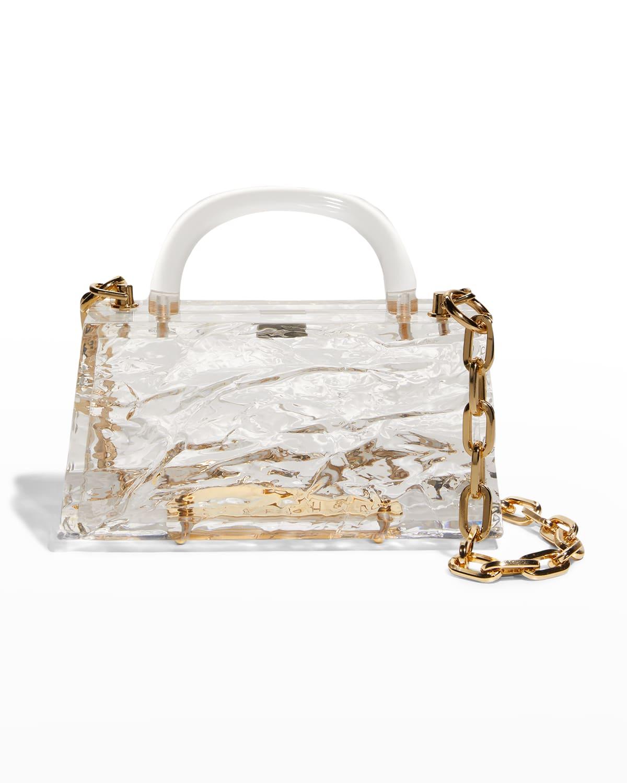 Eva Crushed Ice Clear Acrylic Top-Handle Bag