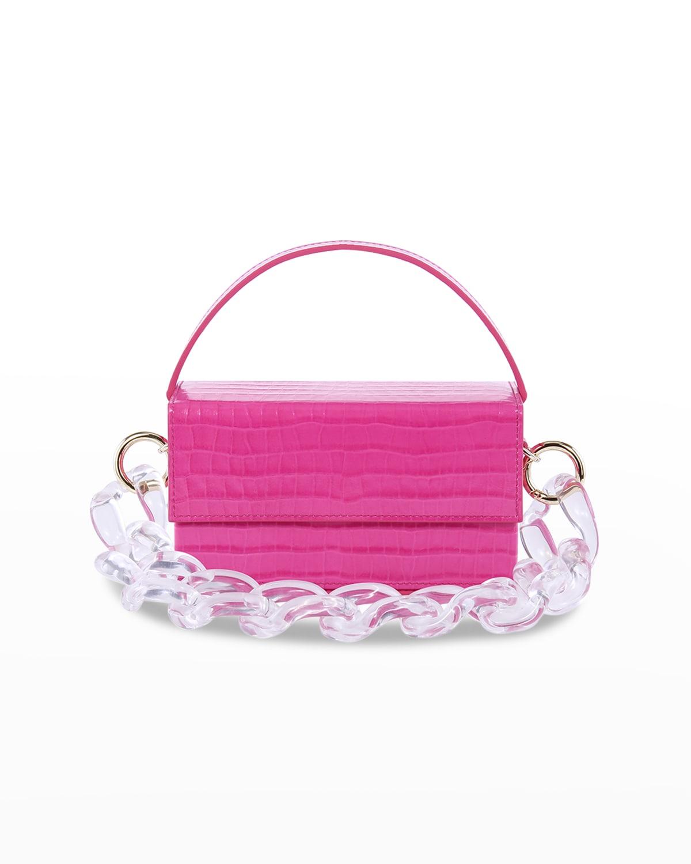 Ida Croc-Embossed Top-Handle Bag w/ Acrylic Chain