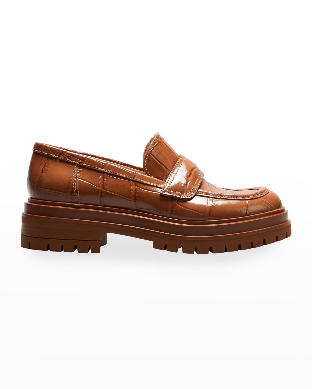 Mock-Croc Lug-Sole Loafers