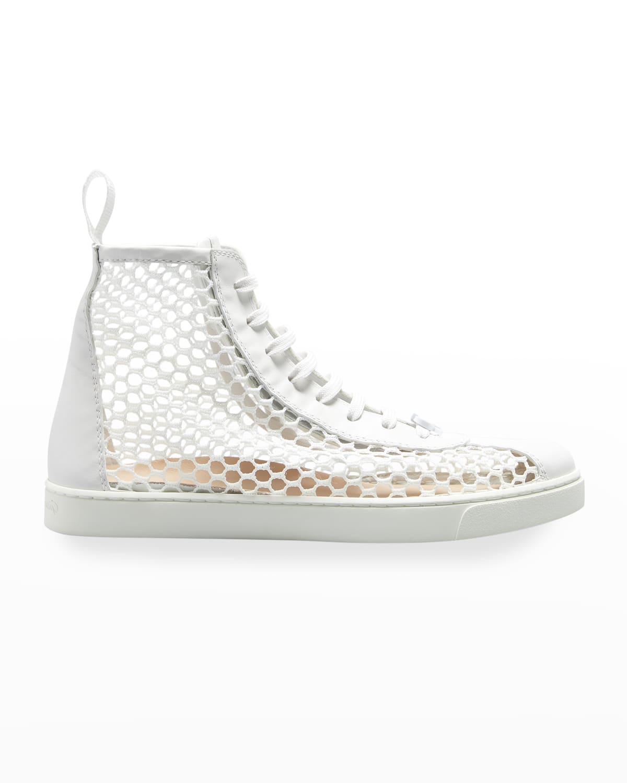 Net Mesh High-Top Court Sneakers
