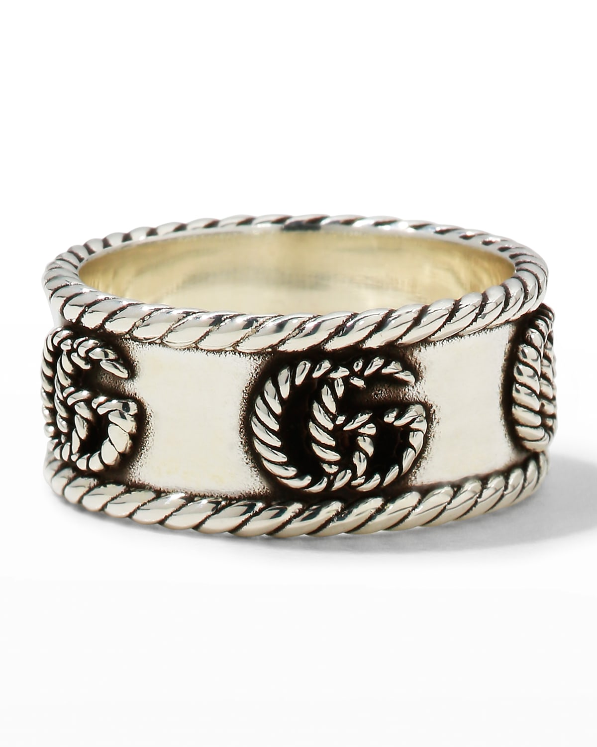 GG Marmont Cabled Sterling Silver Band Ring