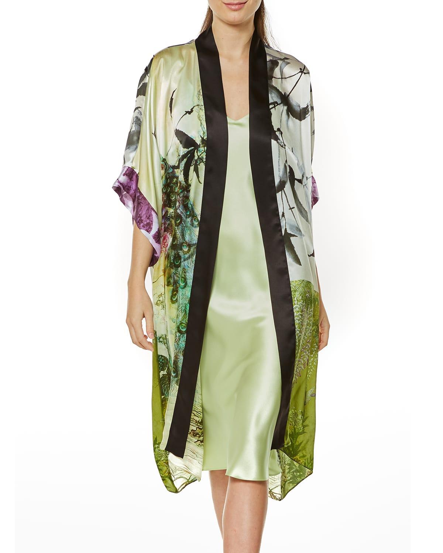 Peacock Gatsby Silk Short Robe