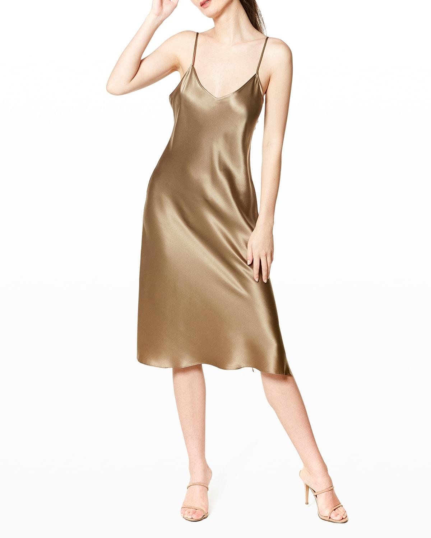 Pistachio V-Neck Silk Nightgown