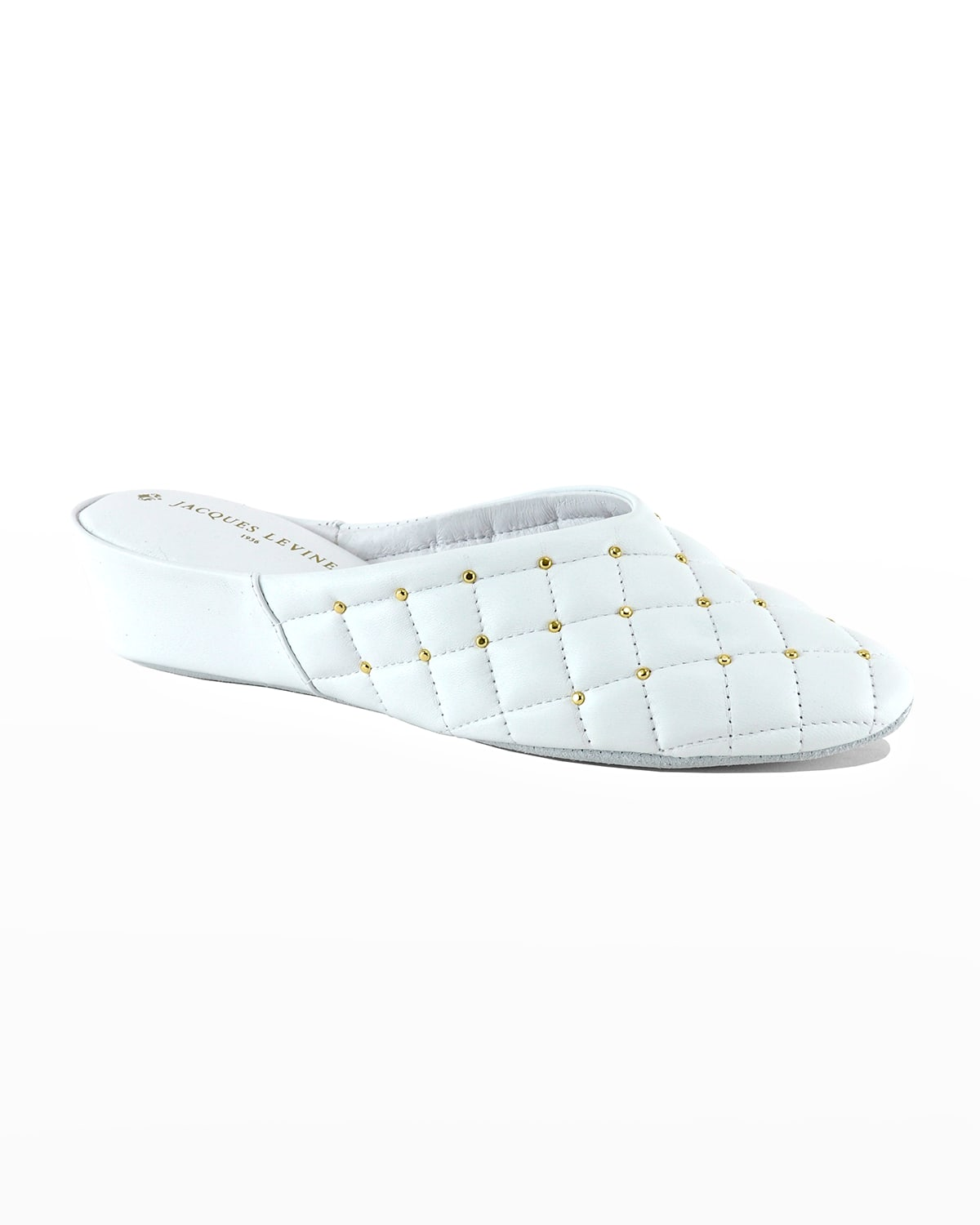 Quilted Leather Studded Slippers