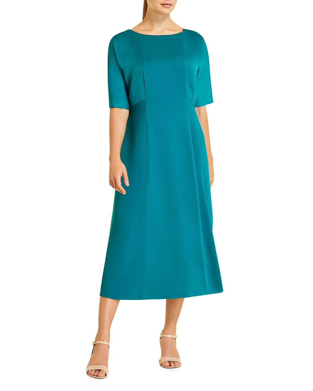 Plus Size Dolmen Satin Midi Dress