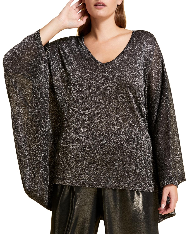 Plus Size Apparire Metallic V-Neck Sweater