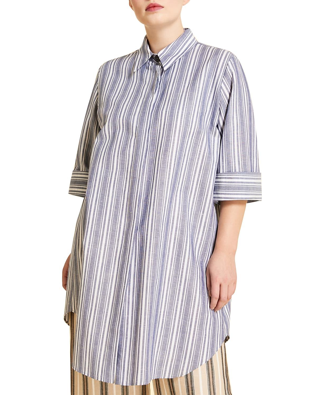 Plus Size Fermezza Striped Shirt