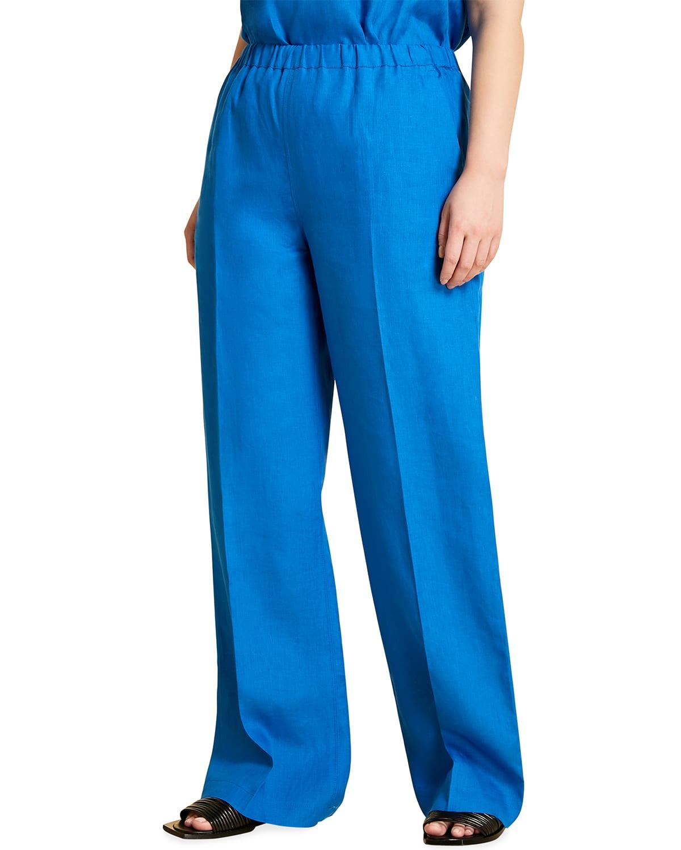 Plus Size Regolare Solid Pants
