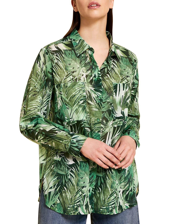 Plus Size Bauhaus Leaf-Print Muslin Shirt