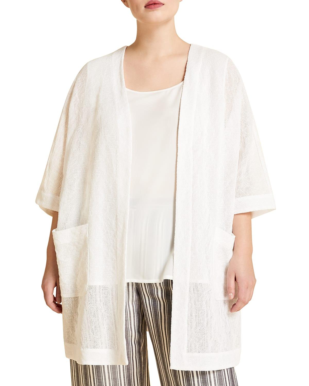 Plus Size Federica Leno Weave Open Tunic