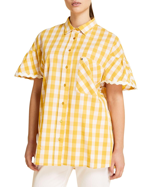 Plus Size Filato Gingham Button-Down Shirt