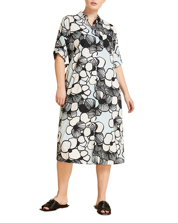 Plus Size Digione Floral-Print Shirtdress