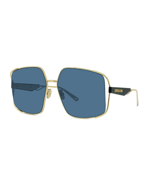 61mm Cutout Square Metal Sunglasses