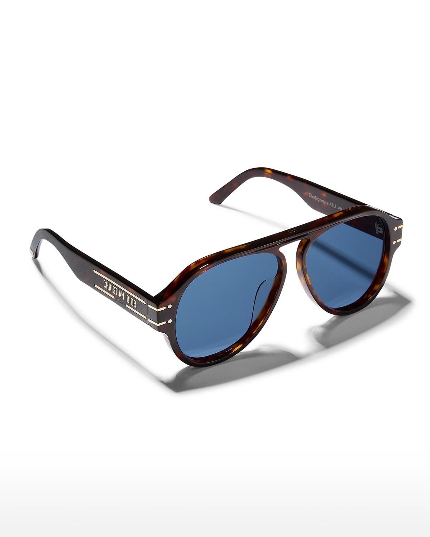 Signature 58mm Acetate Aviator Sunglasses