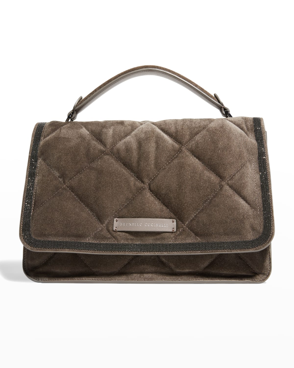 Quilted Suede Top-Handle Bag w/ Monili Trim