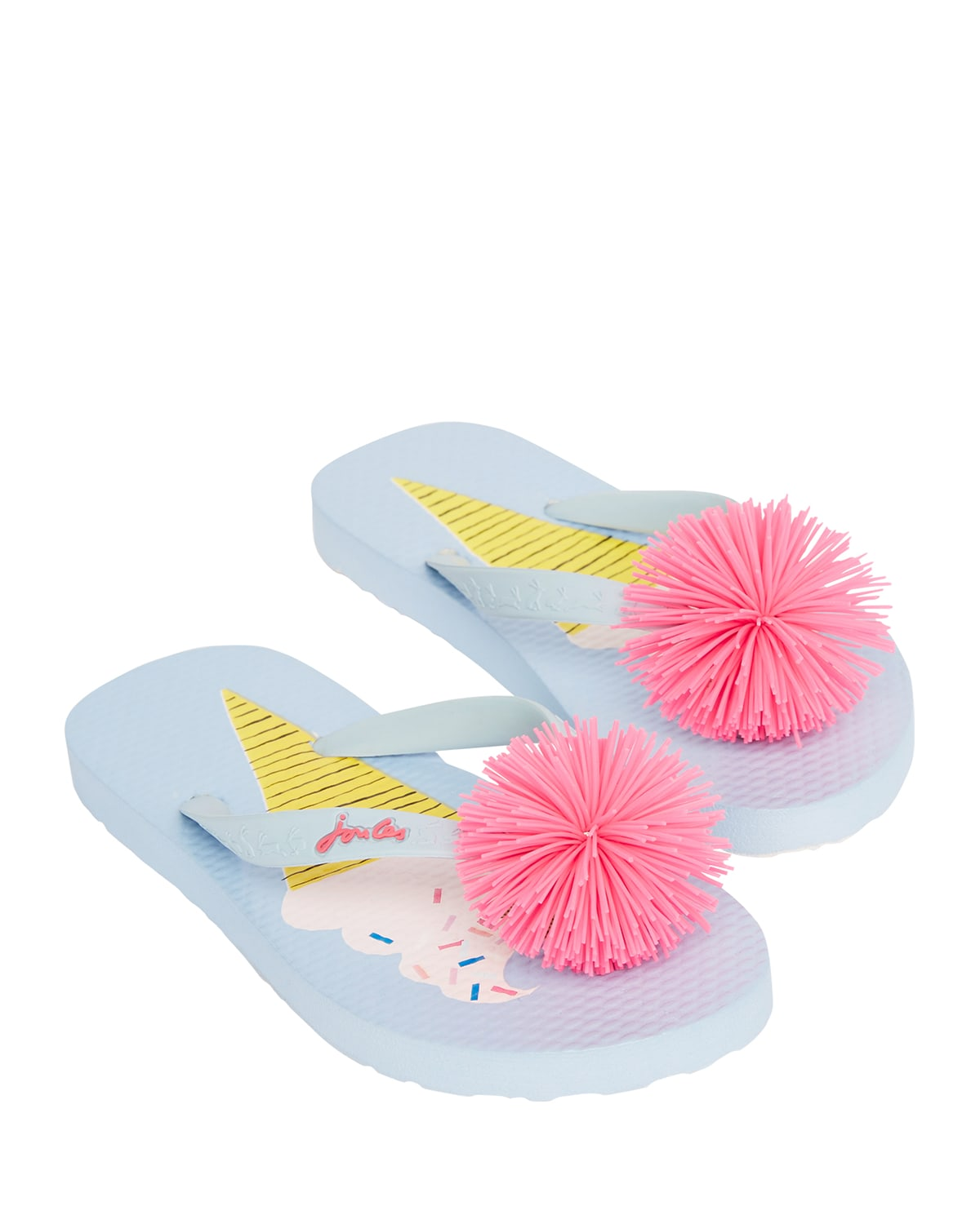 Girl's Ice Cream Printed Thong Sandals with Pompoms