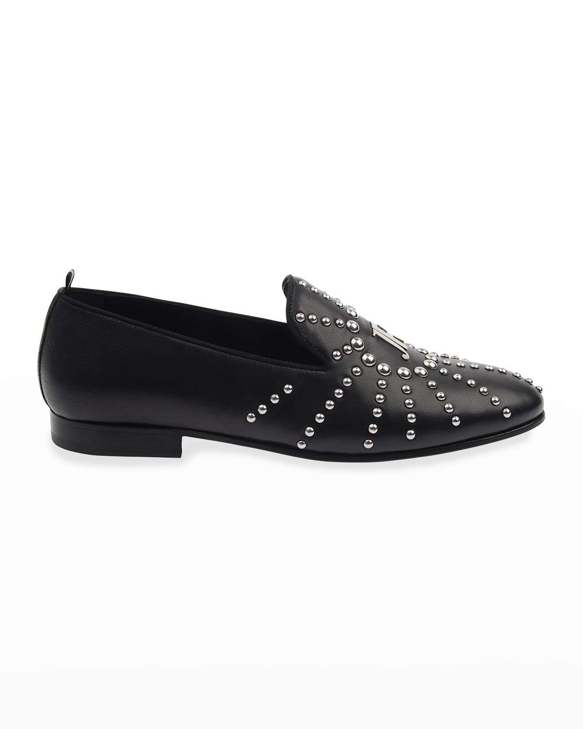 Men's Studded Logo Leather Loafers